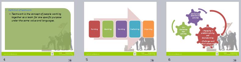 简洁大气的绿色背景团队宣传商务PPT模板