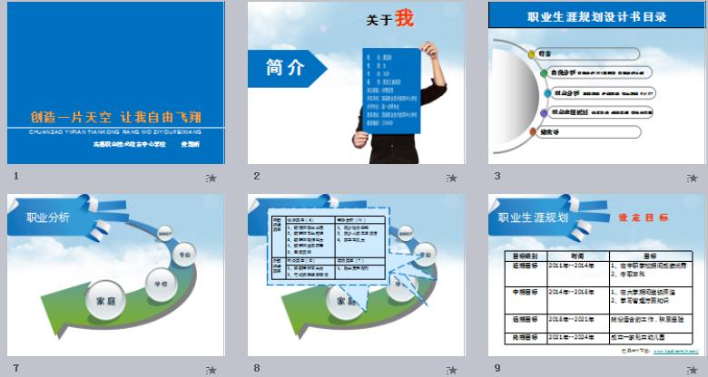 动态简洁大气个人简历及职业规划PPT模板