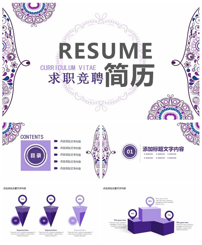 精美紫色个人简历求职竞聘PPT